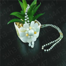 Certified Natural Jade jadeite Emerald Flower Pendant Necklace Fashion Jewelry