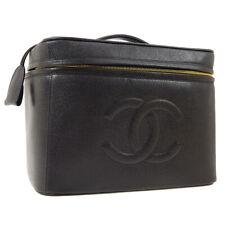 CHANEL CC Jumbo 2way Cosmetic Hand Bag Vanity Black Caviar Skin 3911988 M13920g