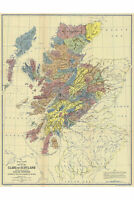 Clan Map of Scotland; Reproduction of Antique 1899 Map