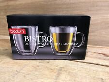 10Oz BODUM Bistro Double-Wall Glass Mug for Coffee, Cold, Hot Beverages Set of 2