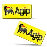 2 x 3D Gel Silikon Aufkleber Stickers Agip Eni Motorenöle Logo Emblem Abzeichen