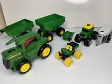 John Deere Lot Of Toy 7 Cars Tractor Trailer Flashlight Big Wheels Collectibles