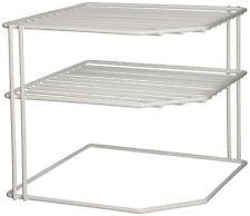Corner Shelf Plate Organizer Rack Cabinet Storage Counter Kitchen Dishes, White