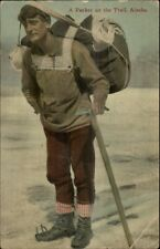 Alaska - A Packer on the Trail Hiking w/ Pick Axe c1910 Postcard