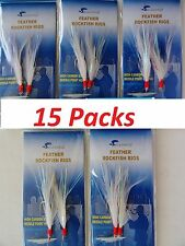 15 Packs 3/0 Rock Cod Feather Rigs White Sabiki Bait Rigs 2 Rigs per pack