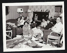 Antique Photograph Group of People in Retro Living Room With Christmas Gifts