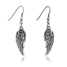ANGELS WINGS EARRINGS WITH ROSE DETAIL & GIFT BAG -  SAME DAY FREE  POSTAGE