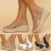 Women Ankle Strap Flatform Wedges Shoes Espadrilles Summer Platform Sandals UK