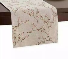 """New listing Table Runner Embroidered Fall Branches 90x13"""" Thanksgiving Leaves Fall Harvest"""