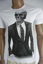 Herren T-Shirt BLACKROCK Skull Totenkopf Vintage Sommer Kurzarm weiß Gr. L