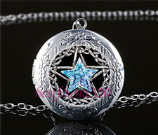 Pentagram Crystal Star Cabochon Glass Tibet Silver Locket Pendant Necklace