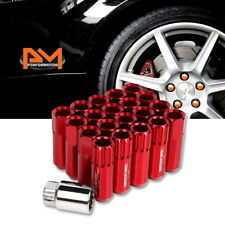 M12X1.5 Red JDM Open End Aluminum Hex Lug Nuts+Spline Locks+Key 20mmx60mm 20Pc