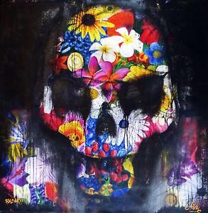 "39"" original painting POSTER skull flower print  ANDY BAKER STREET  ART GRAFFITI"