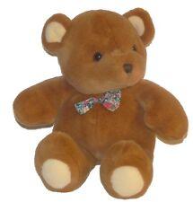 Vintage Commonwealth Teddy Bear Flower Bow Tie 14 inch Plush Stuffed Animal Toy
