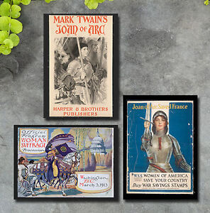 Joan of Arc print lot art Mark Twain women's suffrage war stamps poster cover