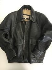JOSEPH ABBOUD J.O.E. Men's Faded Black Leather Full Zip Lined Jacket Size Large