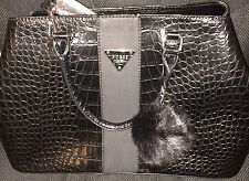 NWT Guess Women's Camp Black Faux Croc Large Purse Handbag