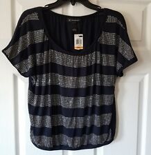 $69 NWT INC Blue / Silver Womens Embellished Bubble Hem Knit Top Size S Small