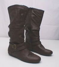 Seven 7 Dials Womens 8.5M Brown DIEM Faux Leather Zip Midcalf Riding Boots