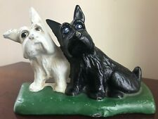Charming Cast Iron Scottish Terriers Doorstop w/Poly Chrome Paint