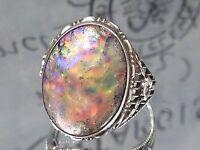 ANTIQUE ART DECO Opal Glass FOIL ART Cabochon STERLING Silver 925 RING Estate