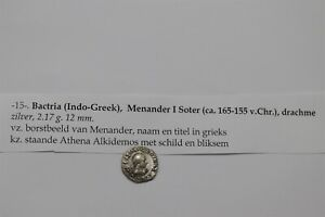 ANCIENT INDO GREEK Bactria. Menander I Soter c. 165 Silver Drachm B34 #K3015