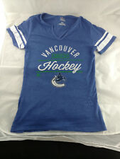 Vanvouver Canucks Women's NHL V Neck T Shirt Blue White Medium Hockey