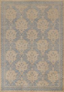 Vegetable Dye Geometric Oushak Turkish Area Rug Hand-knotted Dining Room 8'x10'
