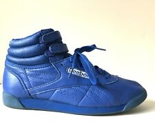 Vtg 80s Royal Blue High Top Double Loop Sneakers Shoes Women's 8.5 9