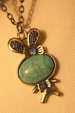 Textured Brasstone Rabbit Blue SimTurquoise Rhinestone Pendant Necklace ++++