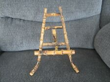 VINTAGE BURNT BAMBOO ART DISPLAY EASEL STAND CHINESE CHINOISERIE DECOR