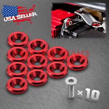 10PCS Red Billet Aluminum Bumper Fender Washer Bolt Engine Bay Screw Dress Up
