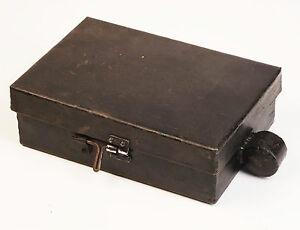 Storage Tin, Metal Lidded Heavy Duty Unusual Black Box