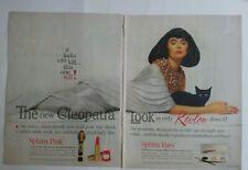 1962 Revlon Cleopatra look Cosmetics Sphynx pink eyes black cat ad as is