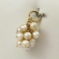 18K Gold Cluster Salt Water Pearl Grapes Baubles Cha-Cha Charm Pendant 5.5 gr