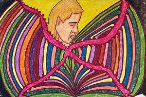 "Vintage 1980 Grease Pencil on Paper ""Disco Lori"" by ED Walnut CA 5/29/80"