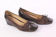 23d GEOX Respira Chaussures Femmes Escarpins cuir verni marron Taille 38 Boucle Talon Compense