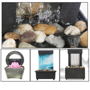 Garden Ornament Fountain Waterfall Indoor Table Top Water Feature LED Lights