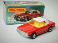 MATCHBOX SUPERFAST RED MERCEDES TOURER 350SL CONVERTIBLE No.6 MINT IN L BOX 1982