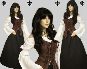 Gothic Mittelalter LARP Gewandung Set Rock Mieder Bluse Kleid Schankmaid I