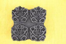 Vintage Indian wood printing block Carved wood block stamp Unique flowers Craft