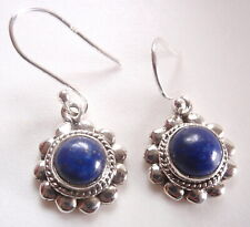 Round Lapis with Silver Dot Accents 925 Sterling Silver Dangle Earrings