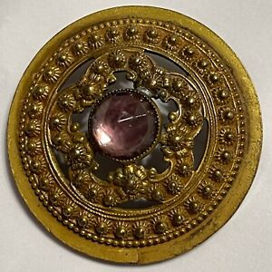 Antique Button Gay Nineties Lilac Faceted Stone in Pierced Beaded Setting