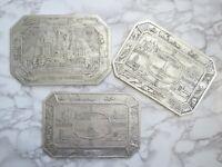 Chicago World's Fair Trivets Set 3 Foil Embossed Hot Plates Souvenirs 1934 Vtg
