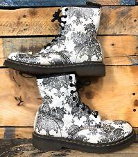 Dr Martens Doc Martens Black White Floral  Sparkles Ankle Boots Womens Sz 10 US