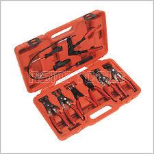 9Pcs Hose Clamp & Clip Plier Set Swivel Jaw Flat Angled Band Automotive Tool Kit