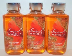 3 Bath & Body Works Sensuel Ambre Gel Douche Karité Vitamin E Signature 296ml