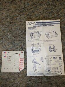 VINTAGE! 1985 Hasbro GI Joe  Instructions-Blueprints-Ammo Dump Stickers