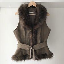 Promod Womens Faux Fur Sleeveless Vest Blazer in Brown, AU Size 14
