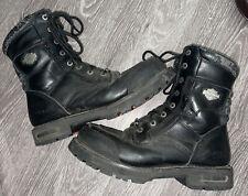 """Harley Davidson Mens Sz 11.5 Reddick 8"""" Lace Up Black Leather Biker Boots 98308"""